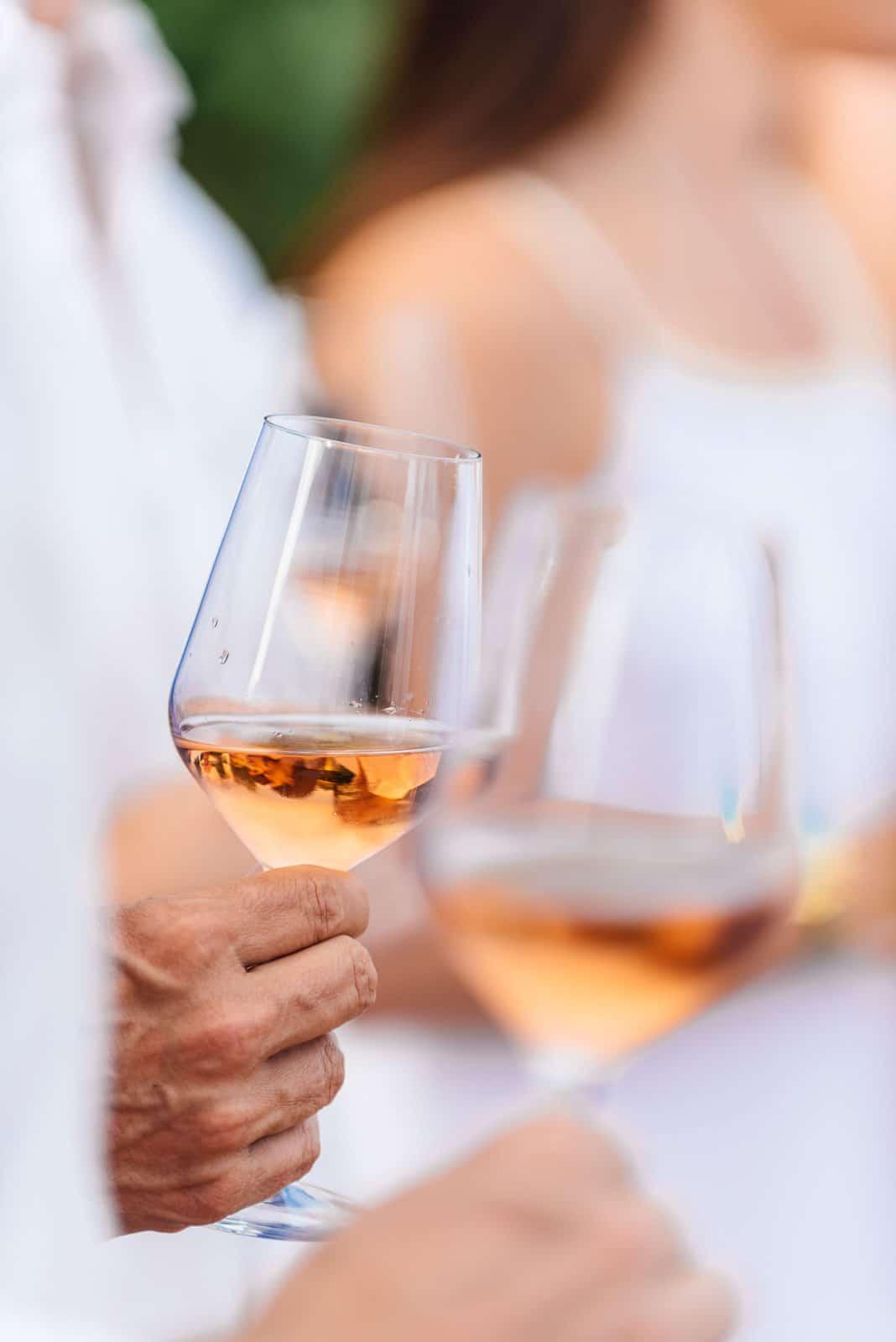 Provence wine tour, glass of rosé