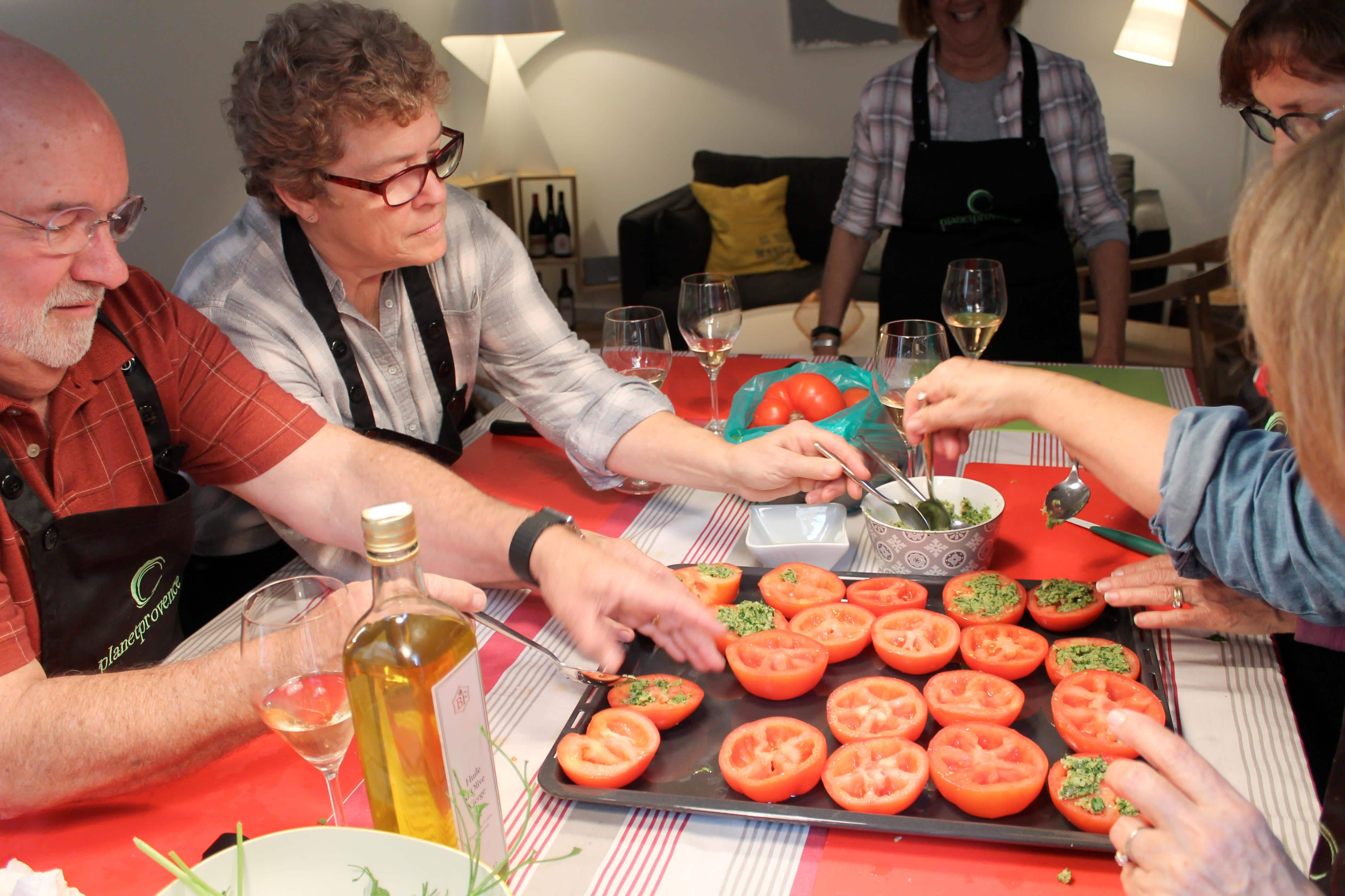 Wine and cooking class, stuffed tomatoes