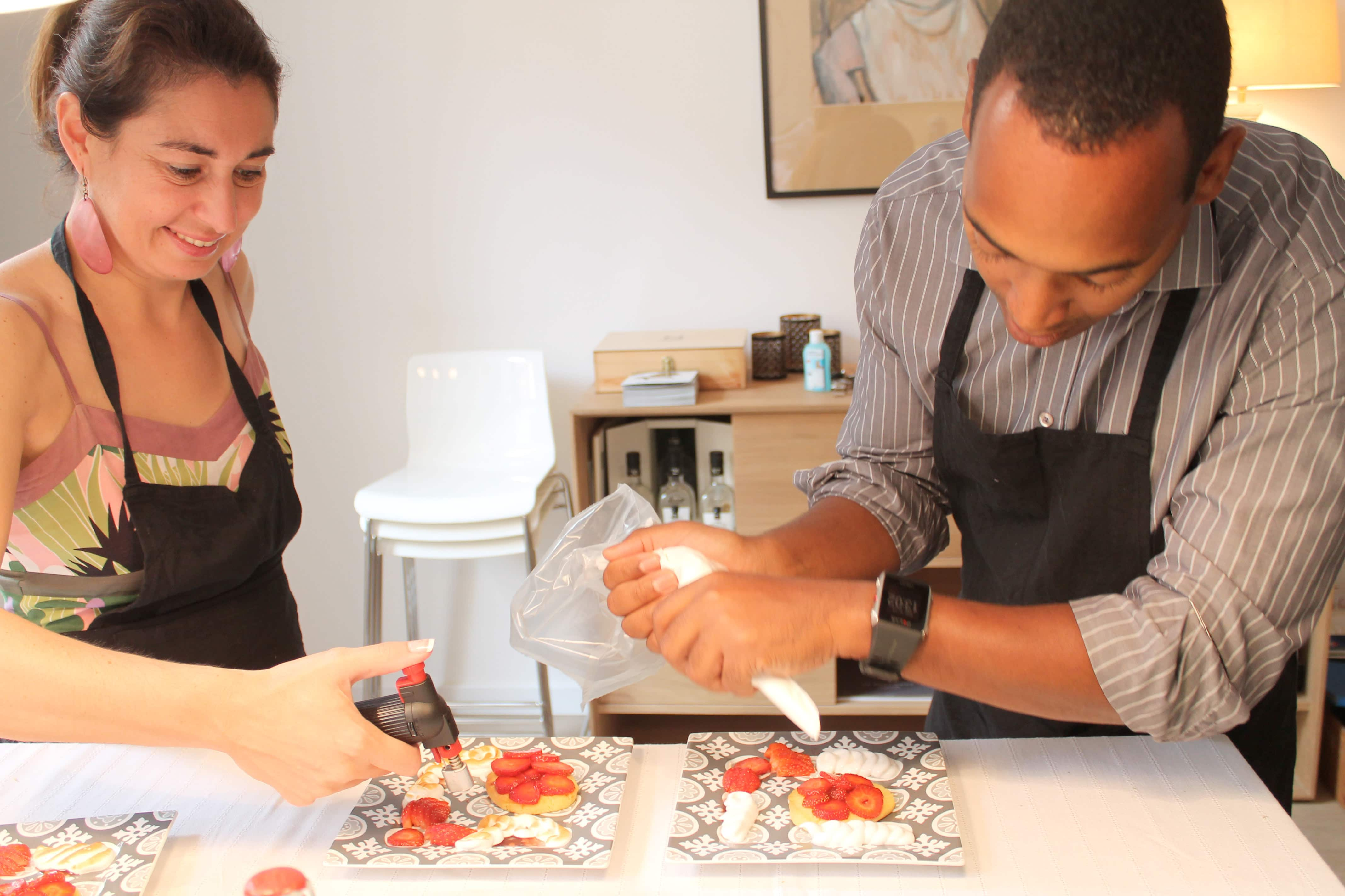 Wine and cooking class, platting strawberry tarts