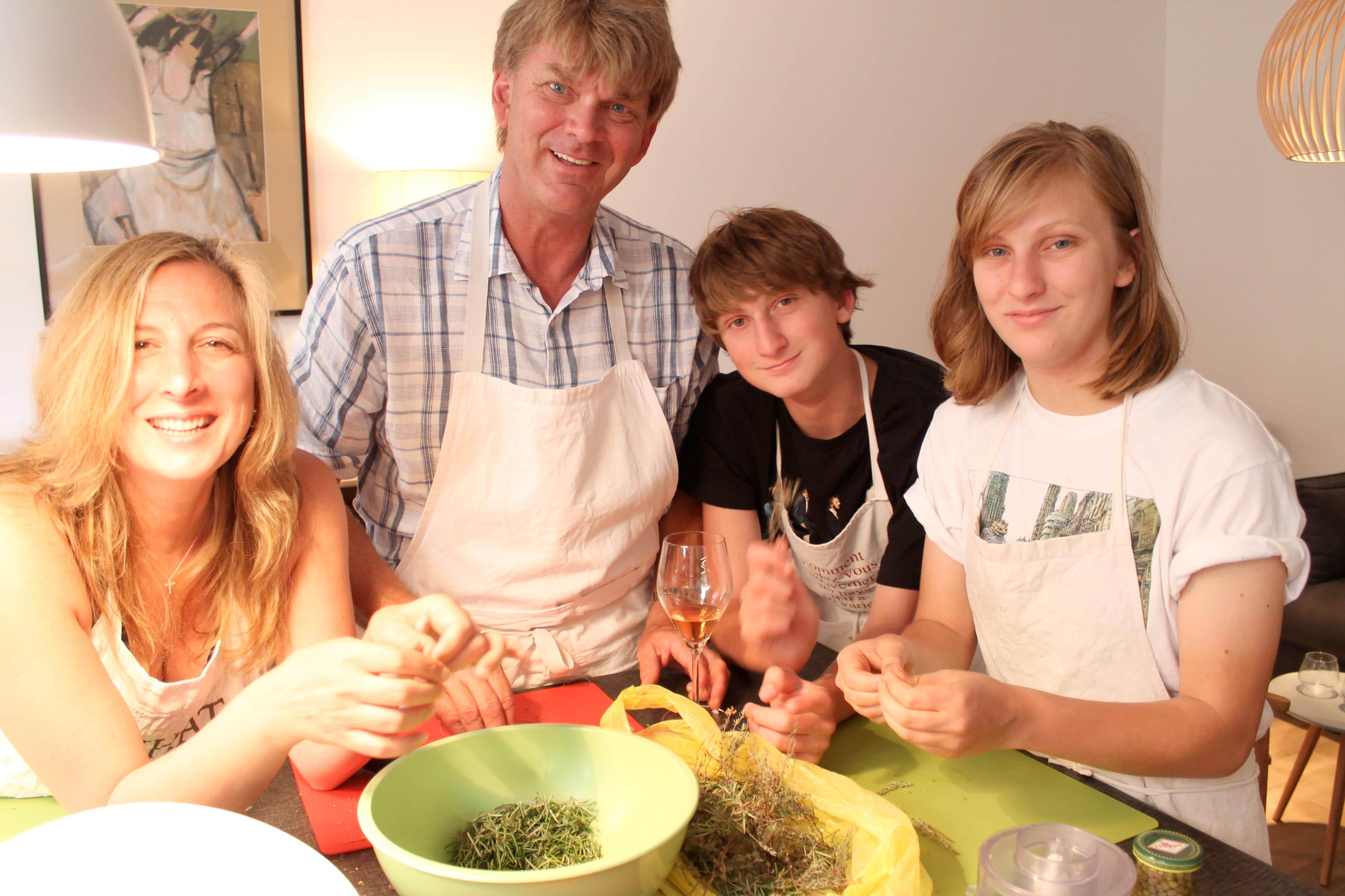 Wine and cooking class, parents and children