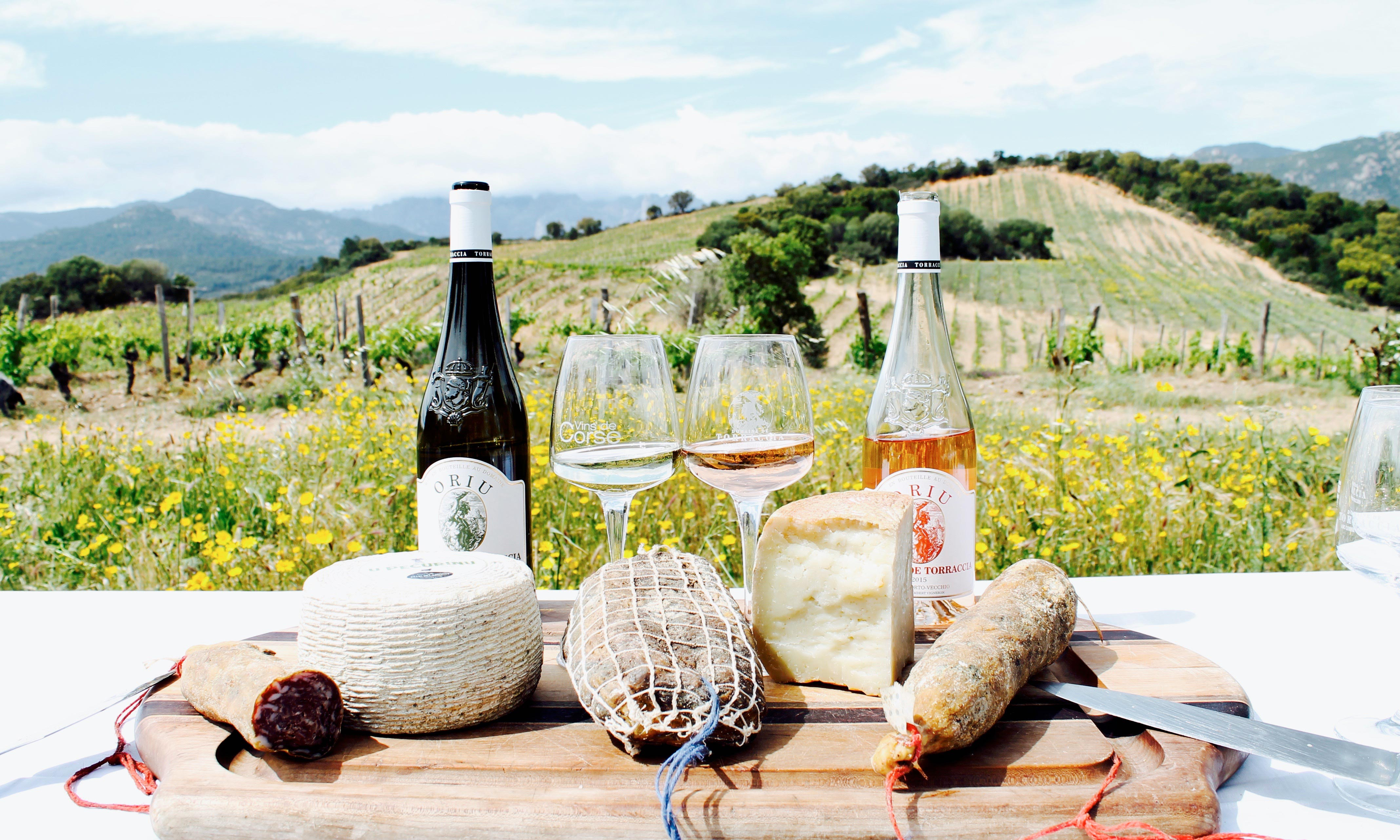 Corsica wine tour, cheese, cured meats and wine