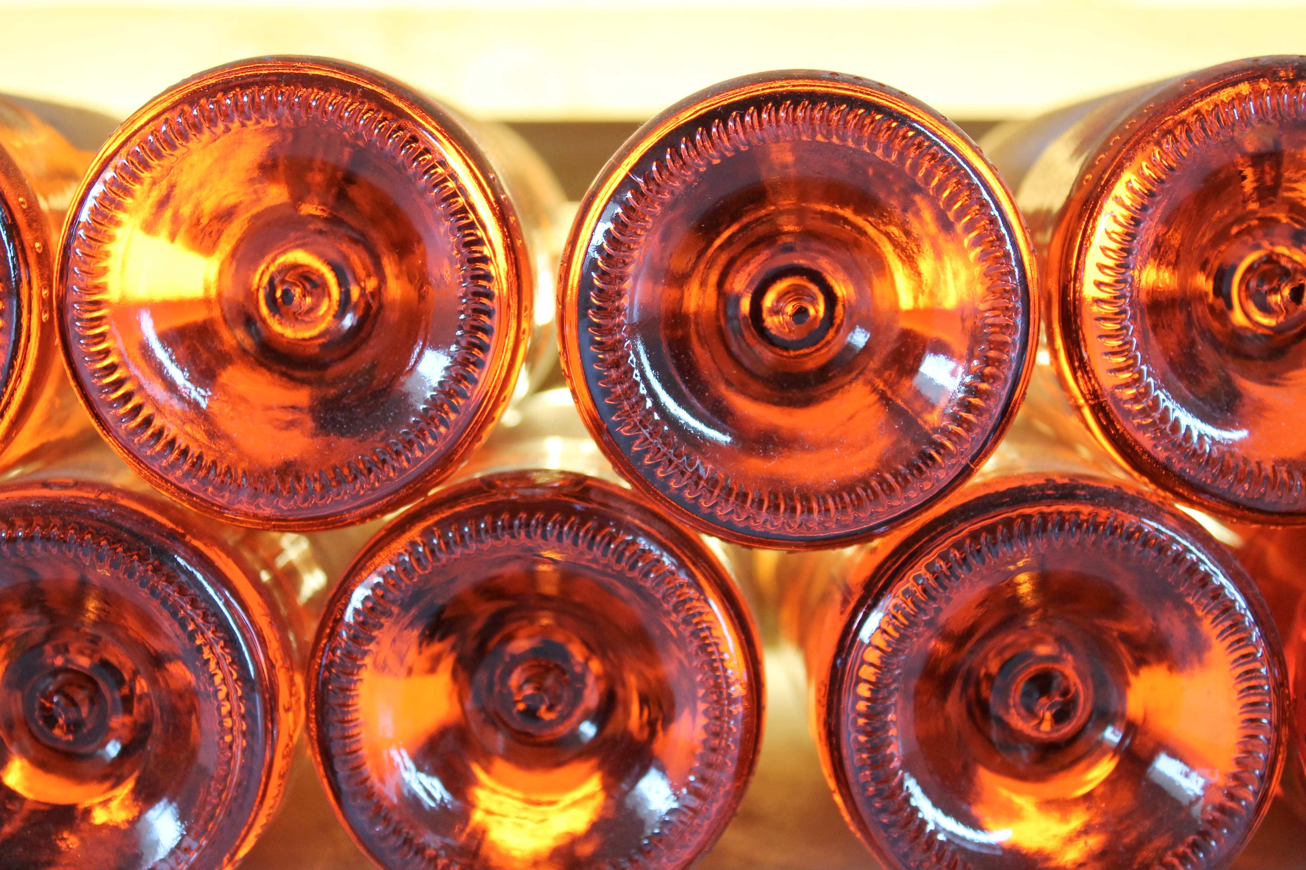 Aix en Provence wine tours, bottoms of rosé bottles