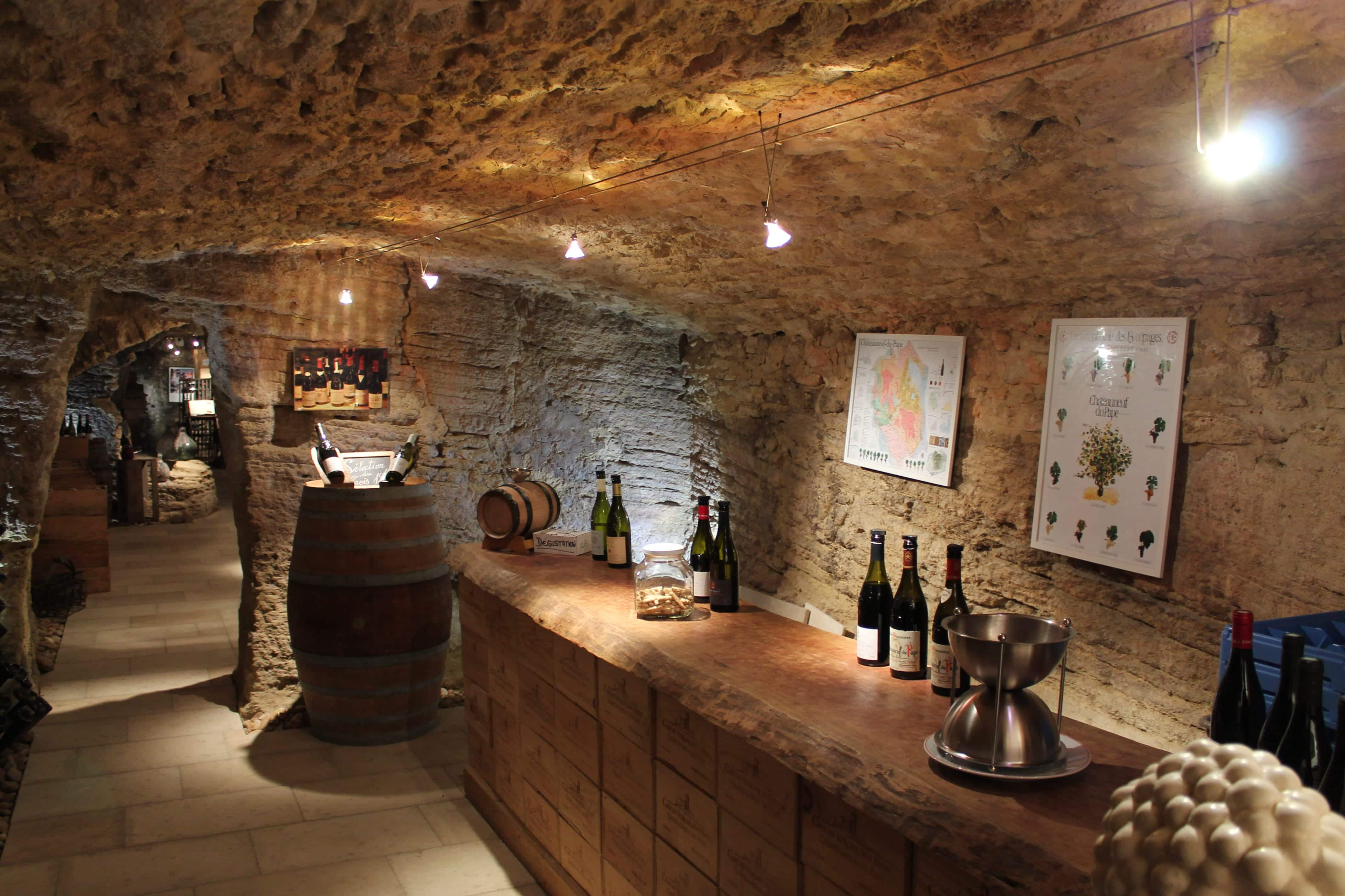 Châteauneuf du Pape wine tour, tasting room in cellar