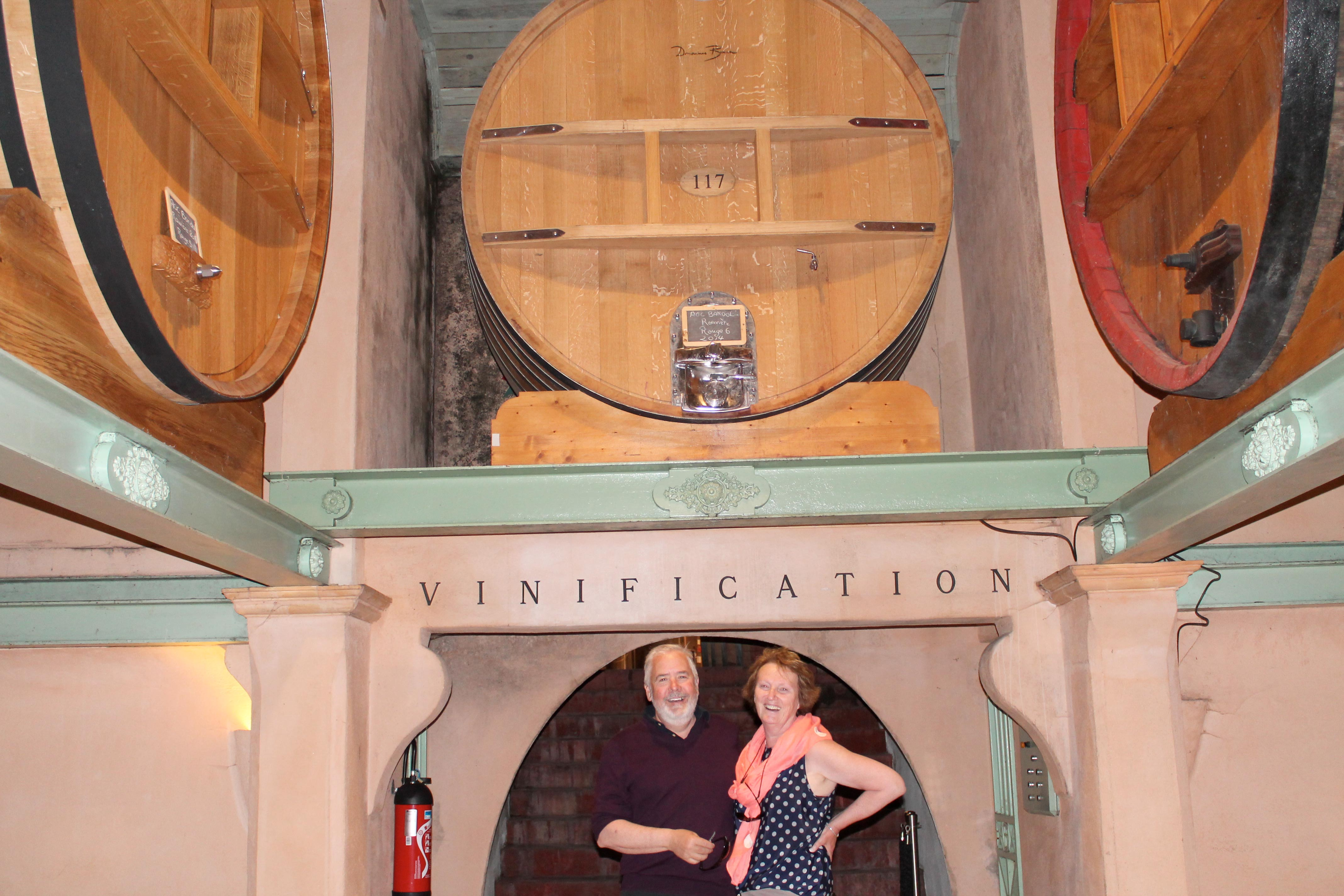 Bandol and Cassis wine tour, two guests happy in winecellar