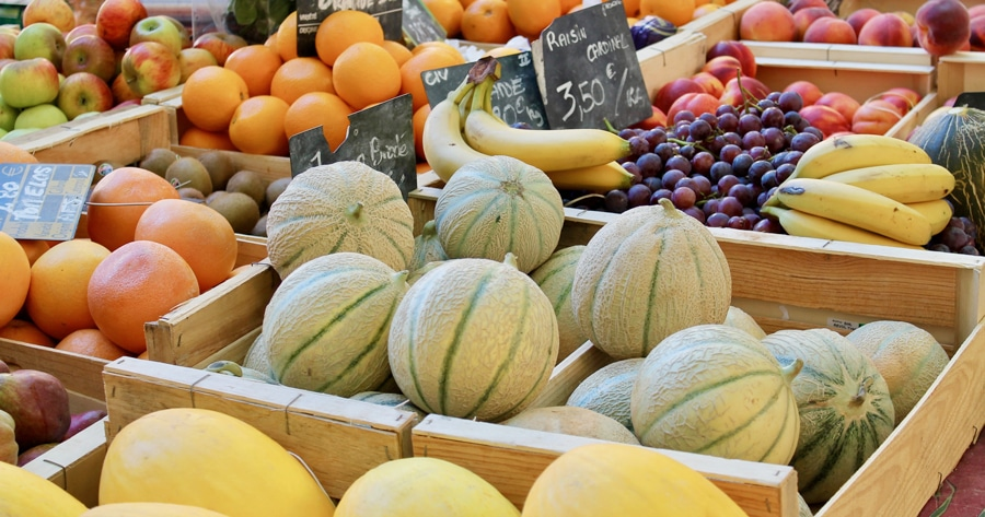 Gourmet wine tour, market stall with melons