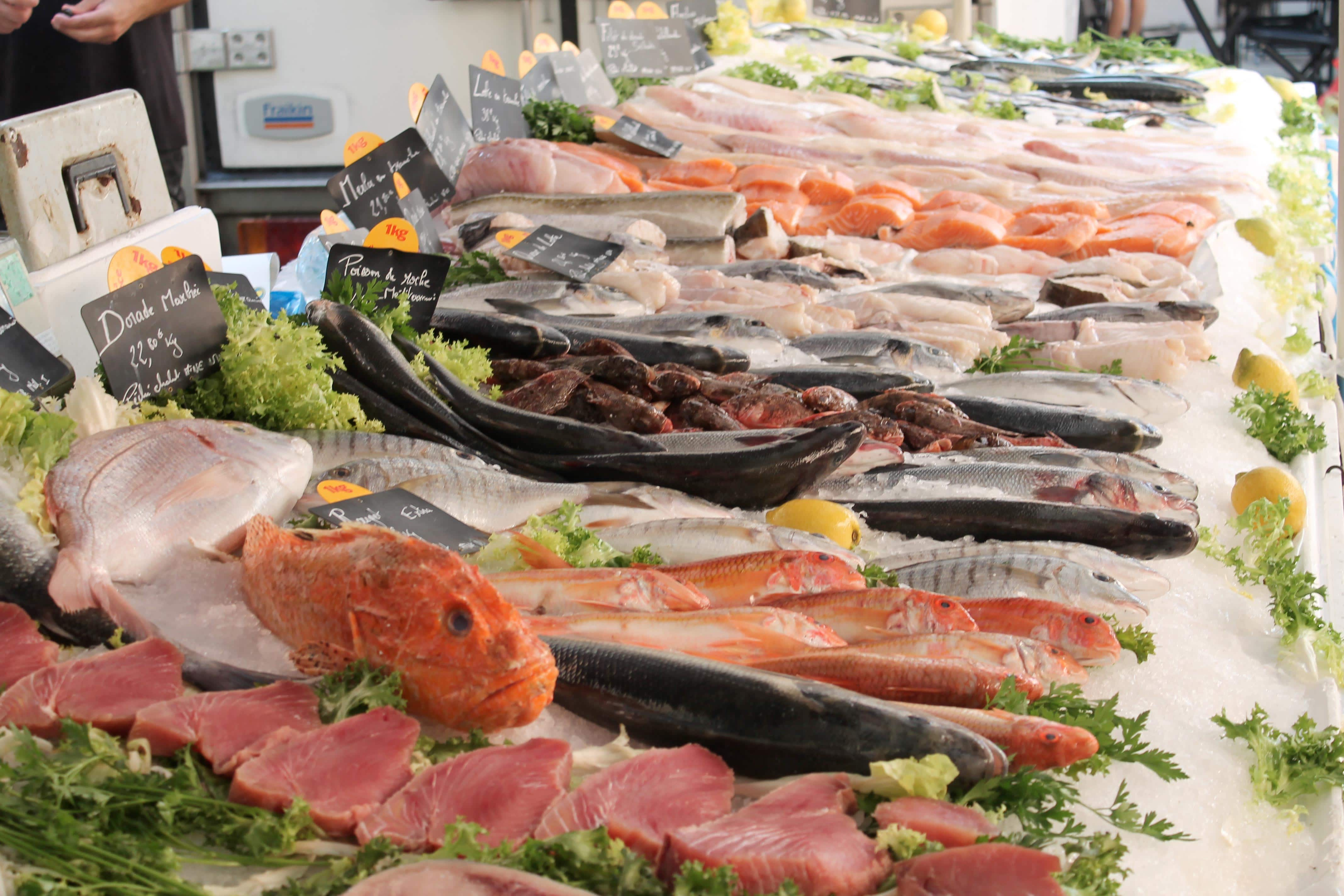 Shore excursion, fish stall, Aix en Provence